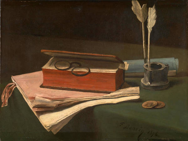 Inkwell Painting - Still Life With Book Papers And Inkwell by Francois Bonvin