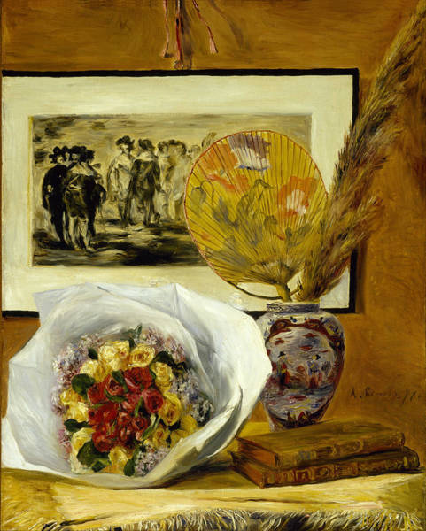 Painting - Still Life With Bouquet And Fan by Pierre-Auguste Renoir
