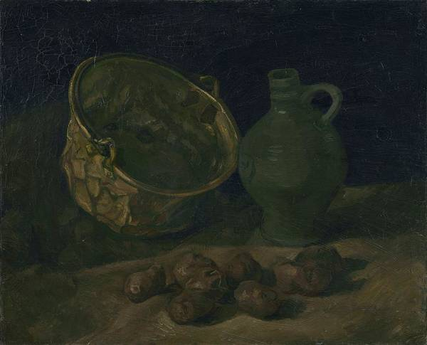 Lid Painting - Still Life With Brass Cauldron And Jug, 1885 by Vincent Van Gogh