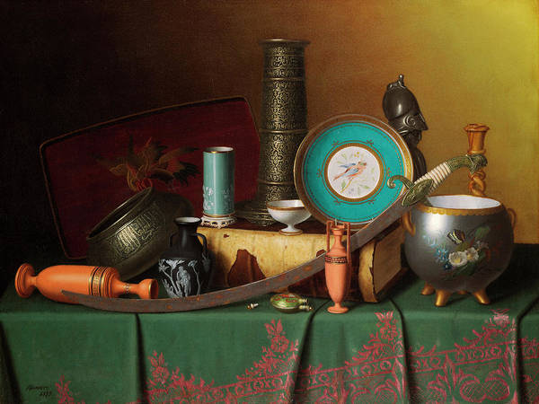 Brac Painting - Still Life With Bric-a-brac by William Michael Harnett