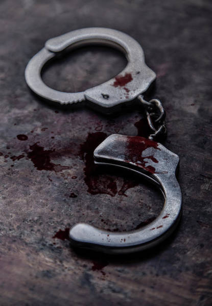 Wall Art - Photograph - Still Life With Broken Handcuffs And Marks Of Blood by Jaroslaw Blaminsky
