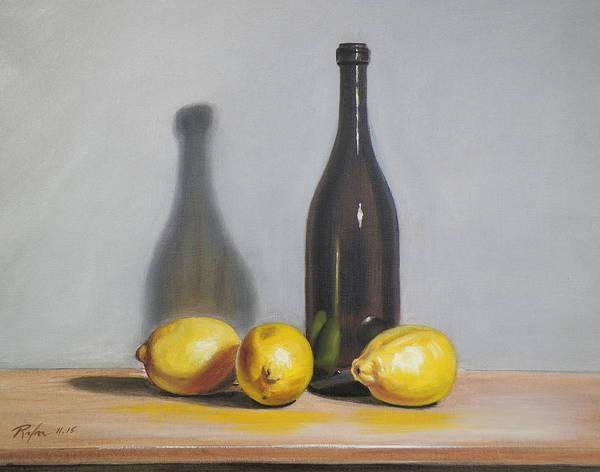 Still Life With Brown Bottle And Lemons Art Print