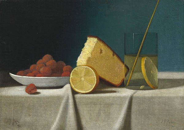 Wall Art - Painting - Still Life With Cake - Lemon Strawberries And Glass by John Frederick Peto