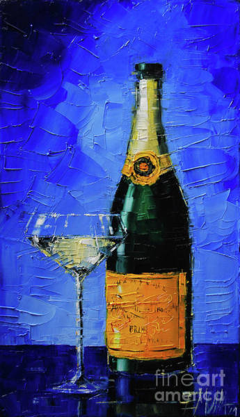 White Wine Wall Art - Painting - Still Life With Champagne Bottle And Glass by Mona Edulesco