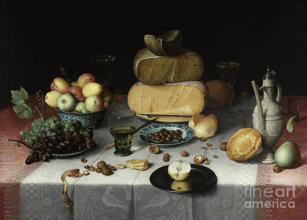 Wall Art - Painting - Still Life With Cheese by Floris Claesz van Dyck
