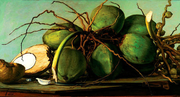 Wall Art - Painting - Still Life With Coconuts by Francisco Oller