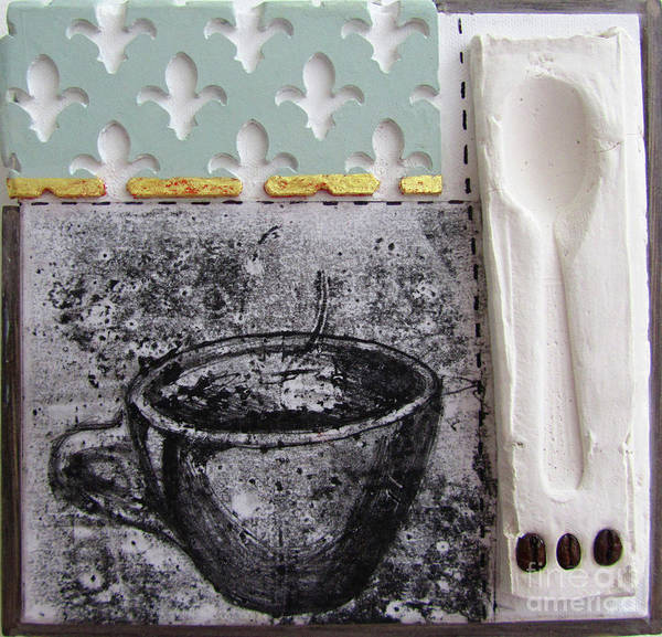 Wallpaper Mixed Media - Still Life With Coffee Cup Beans And Spoon by Peter Allan