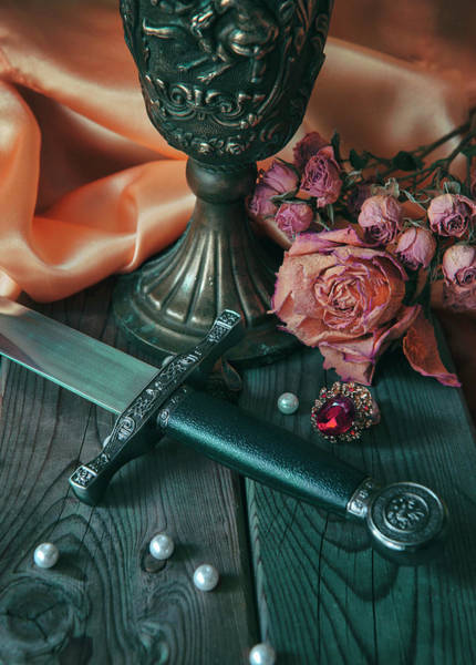 Wall Art - Photograph - Still Life With Dagger, Chalice, Dry Roses And Loose Pearls by Jaroslaw Blaminsky