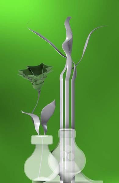 Digital Art - Still Life With Flower Over Green by Alberto RuiZ