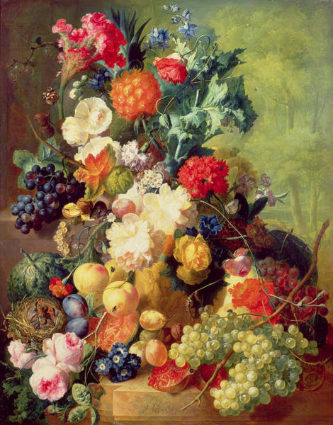 Birds And Flowers Painting - Still Life With Flowers And Fruit by Jan van Os