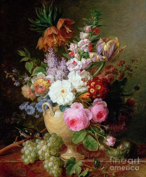 Birds And Flowers Painting - Still Life With Flowers And Grapes by Cornelis van Spaendonck