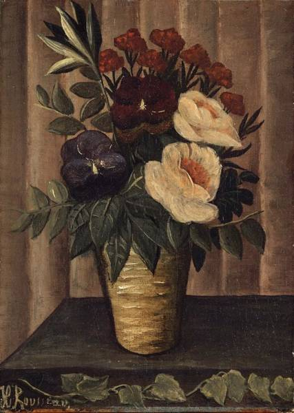Painting -  Still Life With Flowers by Henri Rousseau
