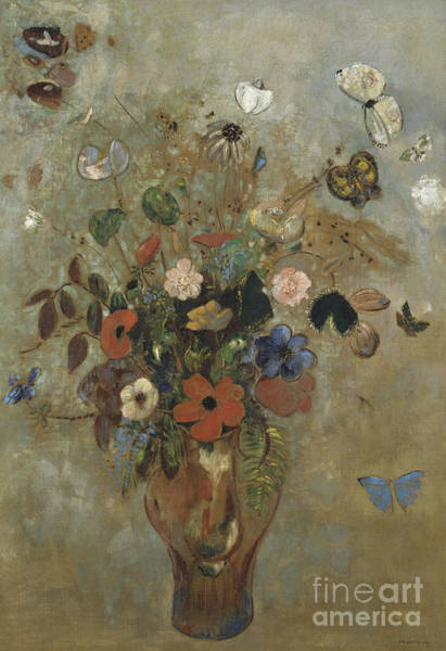 Wall Art - Painting - Still Life With Flowers by Odilon Redon