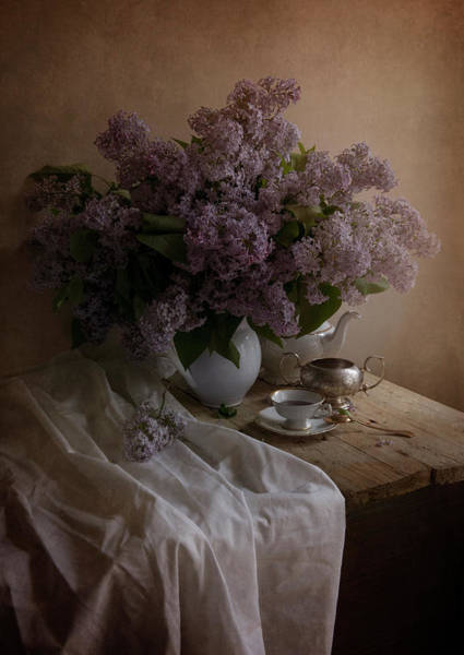 Photograph - Still Life With Fresh Lilac And Dishes by Jaroslaw Blaminsky