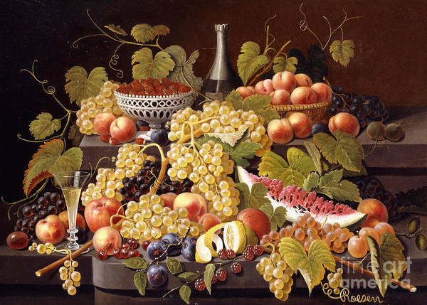 Champagne Painting - Still Life With Fruit And Champagne by Severin Roesen