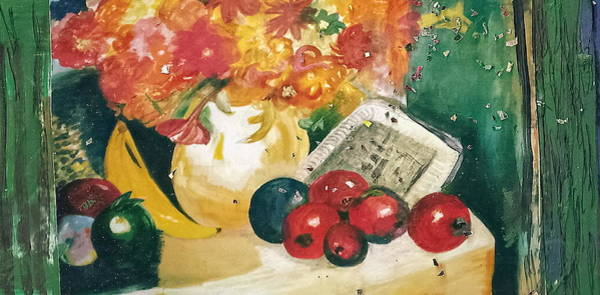 Post-it Painting - Still Life With Fruit And Curtains by Anne-Elizabeth Whiteway