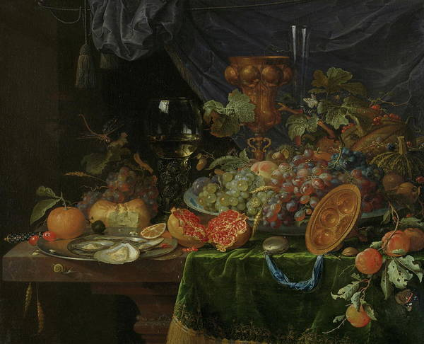 Protein Painting - Still Life With Fruit And Oysters   by Abraham Mignon