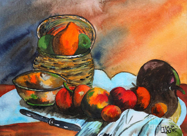 Painting - Still Life With Fruit Basket by Jutta Maria Pusl