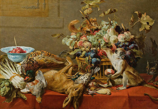 Squirrel Monkey Wall Art - Painting - Still Life With Fruit, Dead Game, Vegetables, A Live Monkey, Squirrel And Cat by Frans Snyders