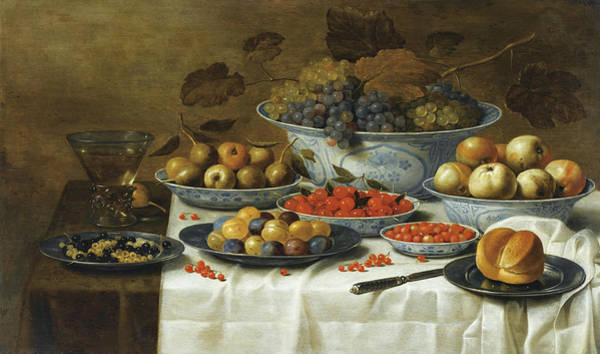 Bread And Wine Painting - Still Life With Fruits In Delft Porcelain by Floris van Schooten