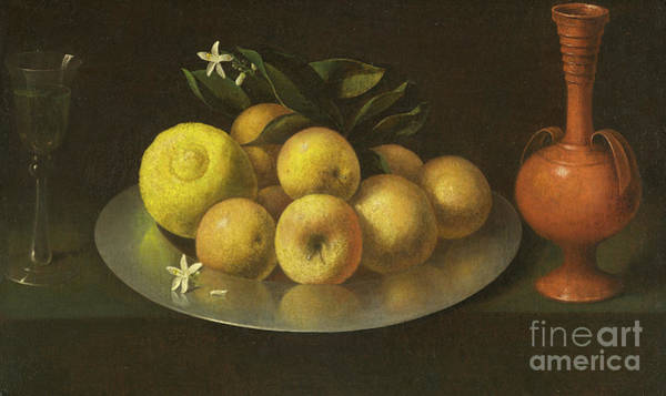 Fashion Plate Painting - Still Life With Glass, Fruit, And Jar by Francisco de Zurbaran