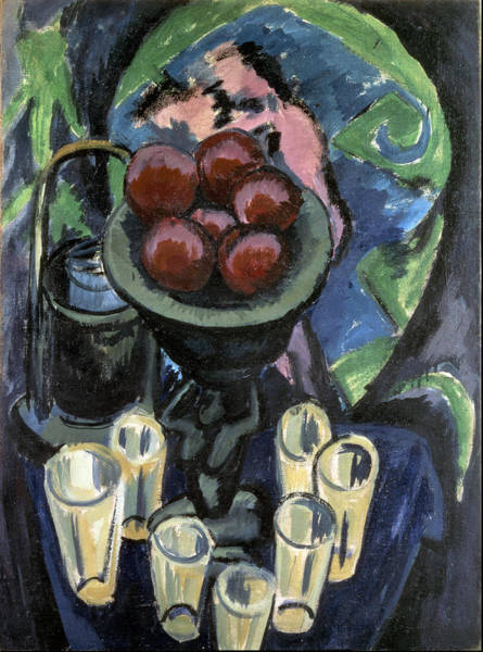 Food Groups Painting - Still Life With Glasses 1912 1912 by Ernst Ludwig Kirchner