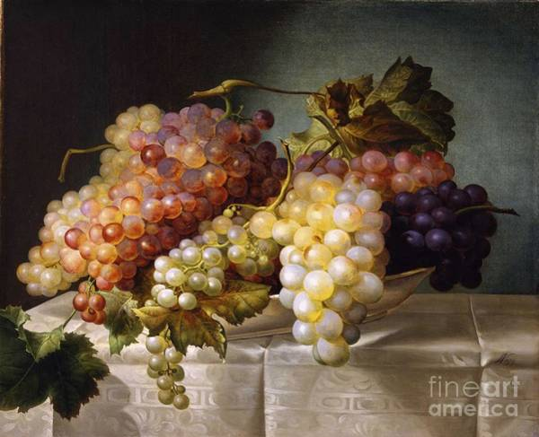Painting - Still Life With Grapes In A Porcelain Dish by Celestial Images