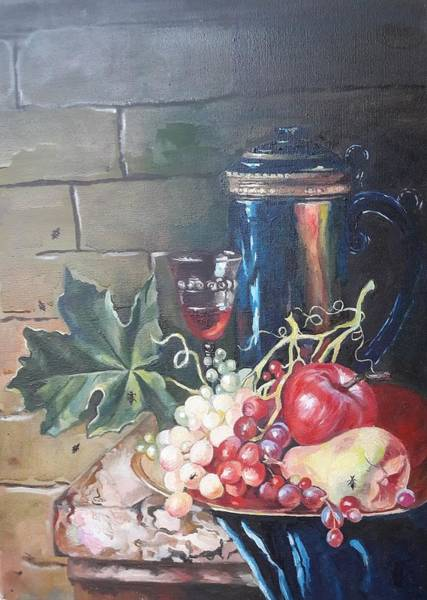 Wall Art - Painting - Still Life With Grapes by Kateryna Kostiuk-Shostka