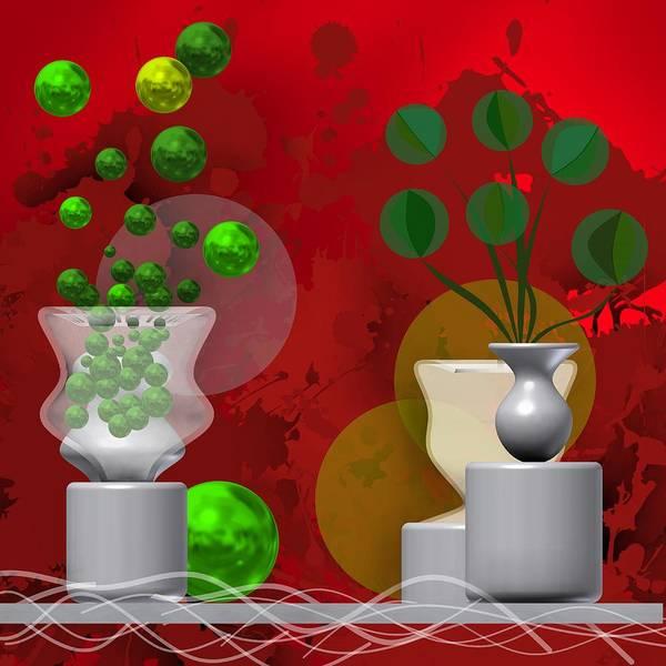 Digital Art - Still Life With Green Balls by Alberto RuiZ