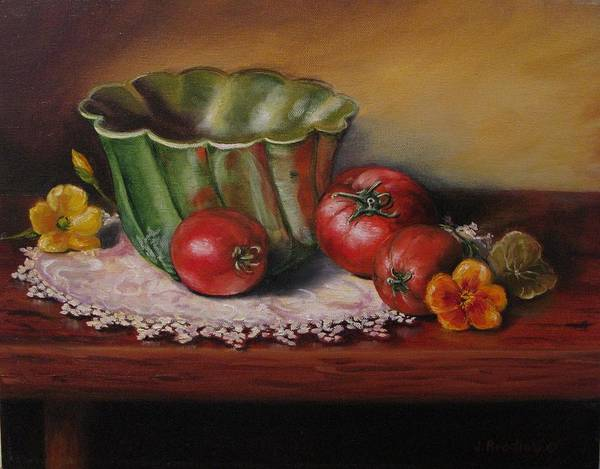 Painting - Still Life With Green Bowl by Judy Bradley