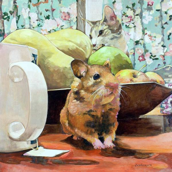 Seek Painting - Still Life With Hamster And Cat by Debbie Beukema