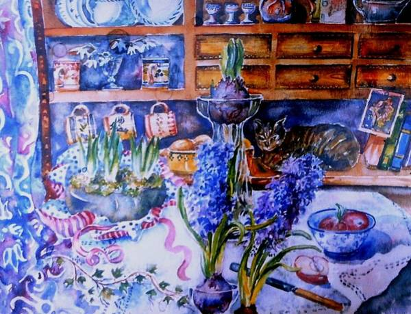 Snowdrop Painting - Still Life With Hyacinths  by Trudi Doyle