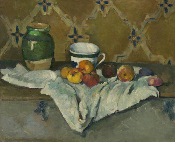 Painting - Still Life With Jar, Cup, And Apples by Paul Cezanne
