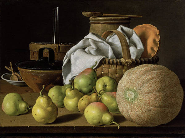 Painting - Still Life With Melon And Pears by Luis Egidio Mendez
