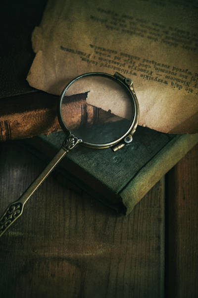 Photograph - Still Life With Old Books And Vintage Loupe by Jaroslaw Blaminsky