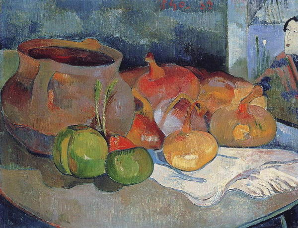 Cabbage White Painting - Still Life With Onions, Beetroot And A Japanese Print,  by Paul Gauguin