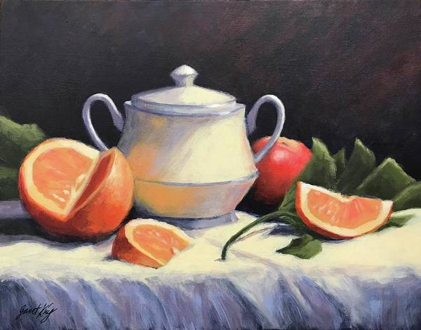 Lid Painting - Still Life With Oranges by Janet King