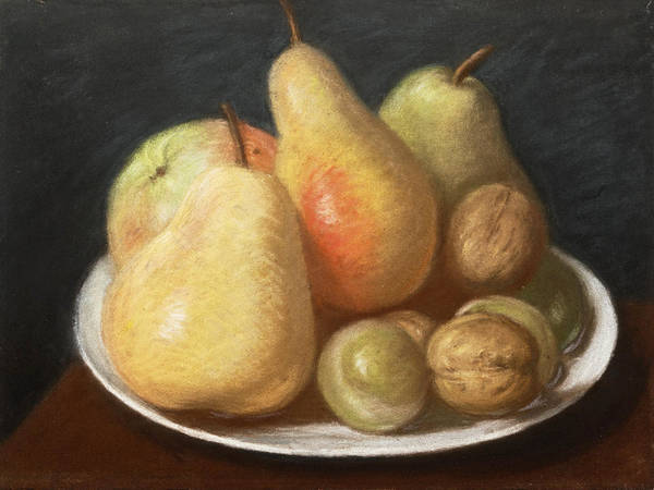 Jean Etienne Liotard Wall Art - Drawing - Still-life With Pears, An Apple, Plums And Walnuts On A White Glazed Plate by Jean-Etienne Liotard