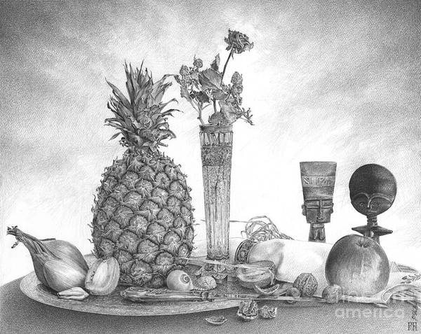 Pineapples Drawing - Still Life With Pineapple by Pawel Gladkow