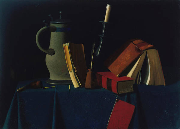 Pitcher Painting - Still Life With Pitcher, Candle, And Books by John Frederick Peto