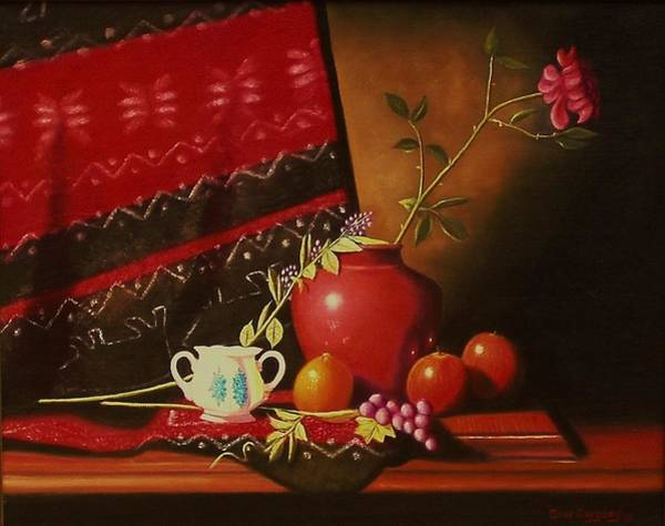 Painting - Still Life With Red Vase. by Gene Gregory