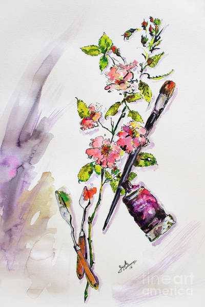 Painting - Still Life With Roses And Artist Tools by Ginette Callaway