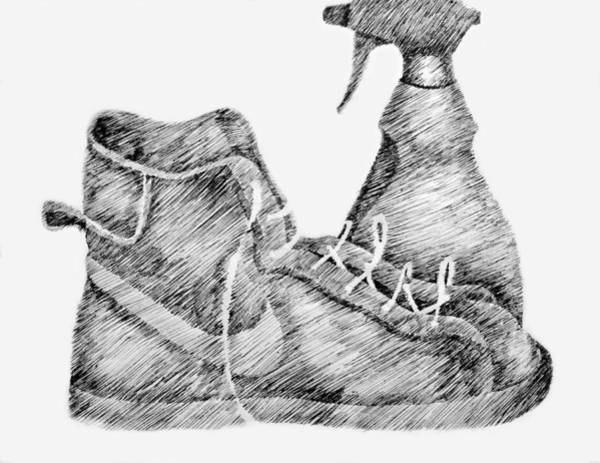 Pen And Ink Drawing Drawing - Still Life With Shoe And Spray Bottle by Michelle Calkins