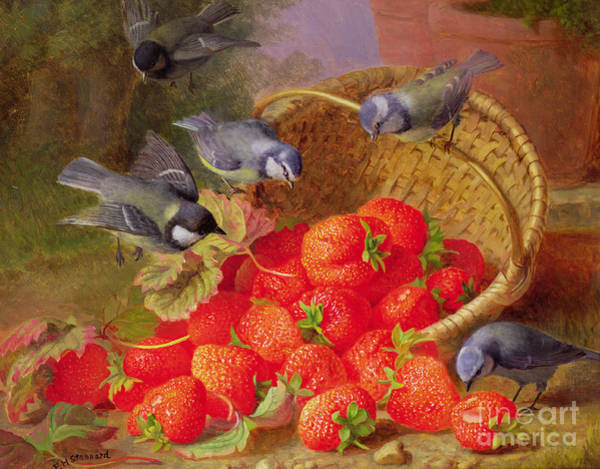 Wall Art - Painting - Still Life With Strawberries And Bluetits by Eloise Harriet Stannard