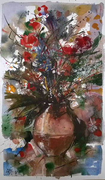 Painting - Still Life With Summer Flowers I. by Lorand Sipos