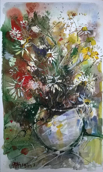 Painting - Still Life With Summer Flowers IIII. by Lorand Sipos