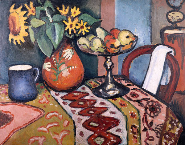The Blue Rider Wall Art - Painting - Still Life With Sunflowers II by August Macke
