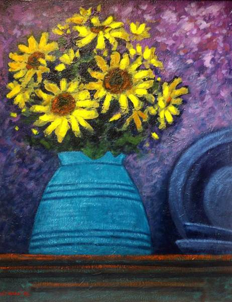 Wall Art - Painting - Still Life With Sunflowers by John  Nolan