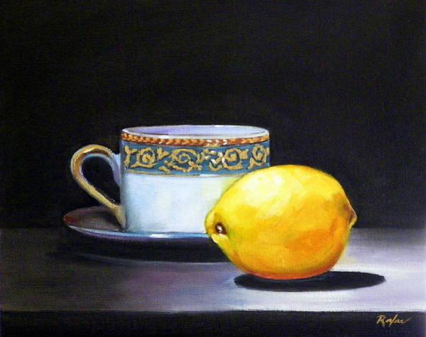 Still Life With Tea Cup And Lemon Art Print