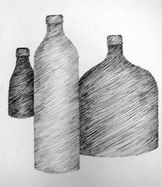 Drawing - Still Life With Three Bottles by Michelle Calkins